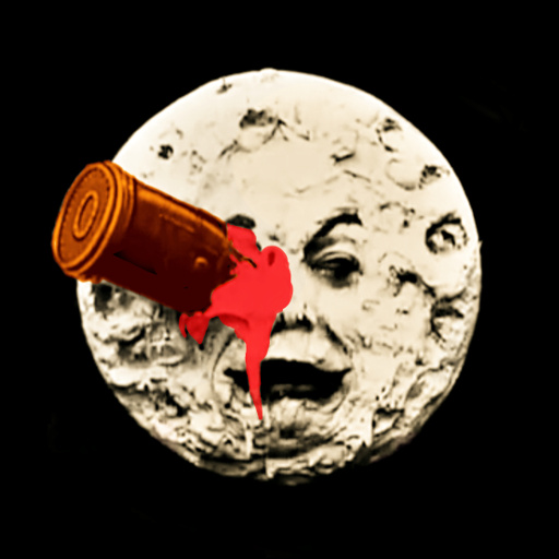 "Event logo which is a recoloured frame from ""Le Voyage dans la Lune"" (1902, Georges Méliès)"