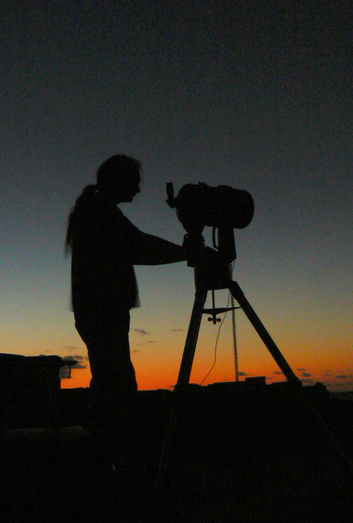Member of Basingstoke Astronomical Society has his eyes on the sky.  Credit: Dstl